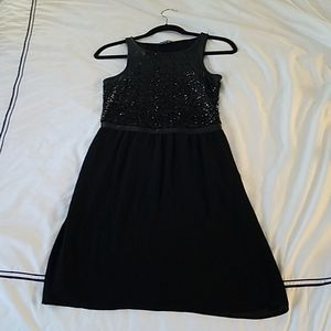 Gianni Bini Sequin Black Dress with Leather Detail